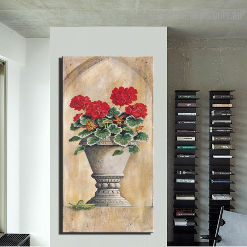 Red Geraniums Botanical Framed Smudge Image Canvas Print for Room Wall Adornment