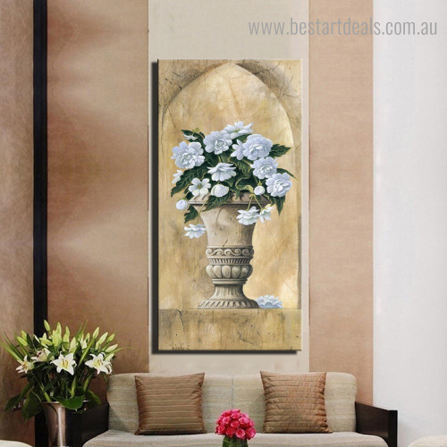 White Blooms Urn Botanical Framed Smudge Picture Canvas Print for Room Wall Assortment