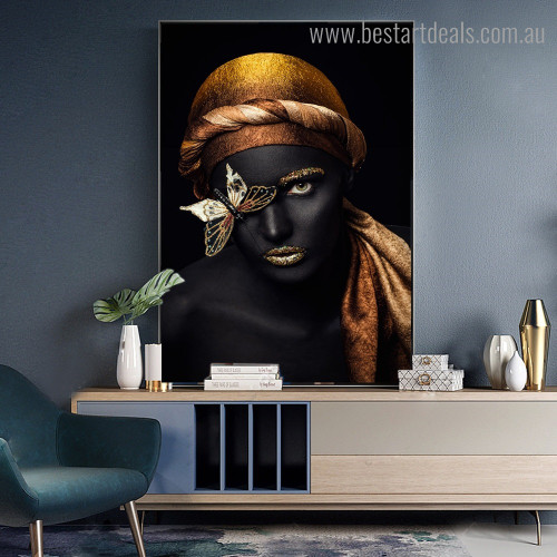 African Wench Figure Modern Framed Smudge Picture Canvas Print for Room Wall Decor