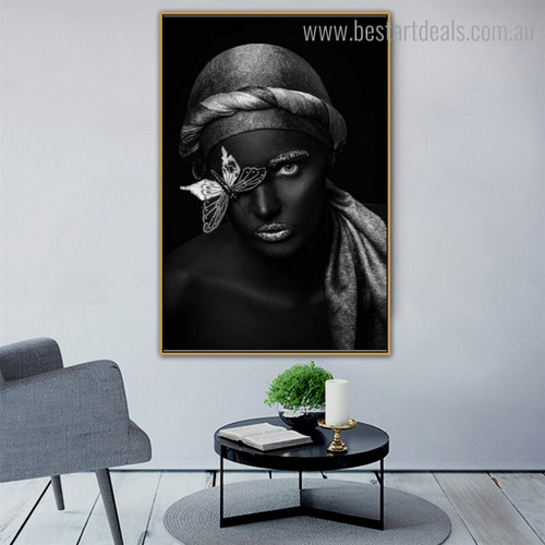 African Dame Figure Modern Framed Smudge Picture Canvas Print for Room Wall Assortment