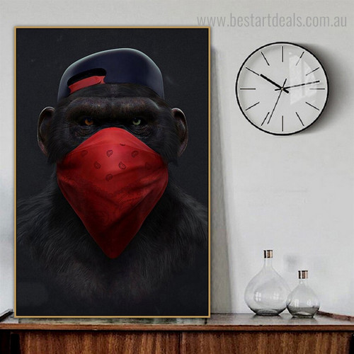 Monkey Cap Animal Funny Modern Framed Smudge Picture Canvas Print for Room Wall Decor