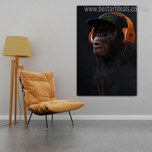 Monkey with Headphone Animal Funny Modern Framed Smudge Portrait Canvas Print for Room Wall Decoration
