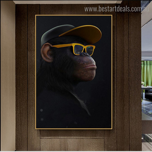 Cool Monkey Animal Funny Modern Framed Smudge Portrait Canvas Print for Room Wall Decor