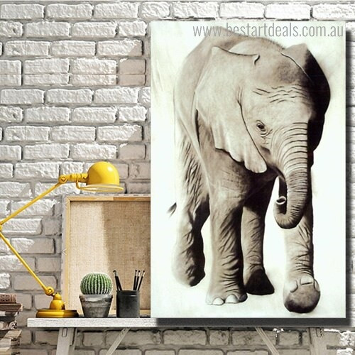 Jungly Elephant Animal Modern Framed Artwork Image Canvas Print for Room Wall Outfit