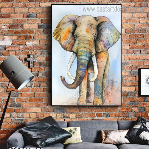 Chromatic Jumbo Animal Watercolor Framed Artwork Image Canvas Print for Room Wall Adornment