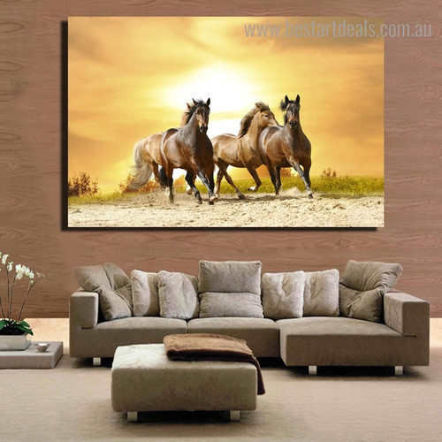 Running Mares Animal Nature Framed Painting Photo Canvas Print for Room Wall Tracery