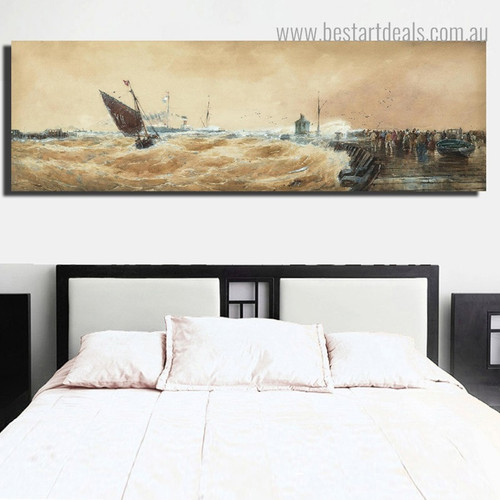 Sailing Seascape Abstract Modern Framed Painting Picture Canvas Print for Room Wall Decoration