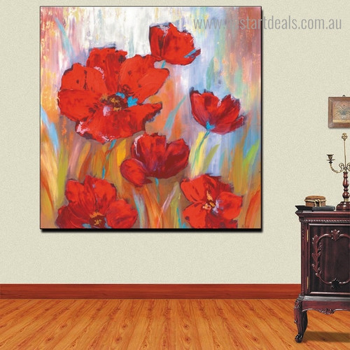 Red Poppies Abstract Botanical Modern Framed Artwork Portrait Canvas Print for Room Wall Outfit
