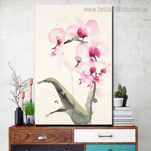 Pink Magnolia Abstract Botanical Modern Framed Artwork Portrait Canvas Print for Room Wall Garniture