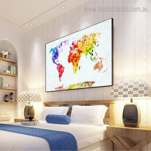 Multicolored Map Abstract Watercolor Framed Artwork Image Canvas Print for Room Wall Disposition