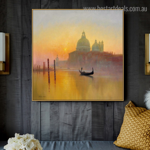 Saint Mary Seascape Cityscape Framed Painting Picture Canvas Print for Room Wall Decor