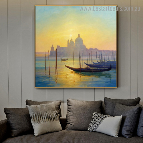 Saint Mary Health Seascape Cityscape Framed Painting Picture Canvas Print for Room Wall Outfit