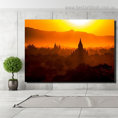 Temples of Bagan landscape Nature Framed Painting Portrait Canvas Print for Room Wall Ornament