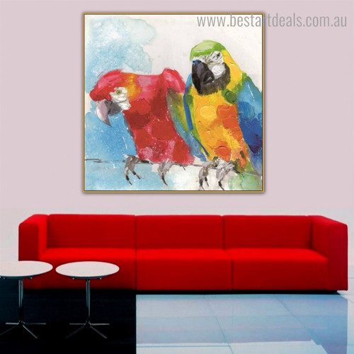 Colorific Macaws Abstract Bird Watercolor Framed Painting Photograph Canvas Print for Room Wall Decoration