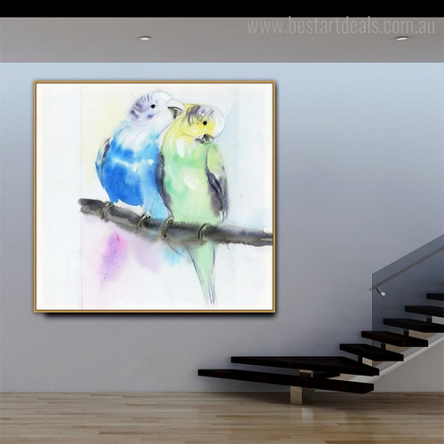 Budgie Parrot Abstract Bird Watercolor Framed Painting Photo Canvas Print for Room Wall Ornament
