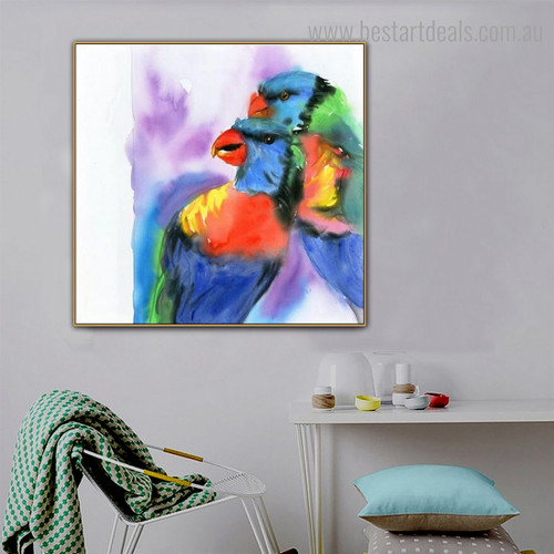 Blue Green Parrot Abstract Bird Watercolor Framed Painting Photo Canvas Print for Room Wall Ornament