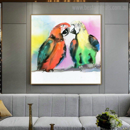 Two Parrots Abstract Bird Watercolor Framed Painting Image Canvas Print for Room Wall Decoration