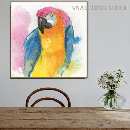 Macaw Parrot Abstract Watercolor Framed Artwork Image Canvas Print for Room Wall Adornment