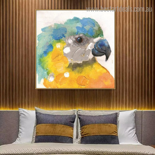 Macaw Face Abstract Watercolor Framed Artwork Portrait Canvas Print for Room Wall Garnish
