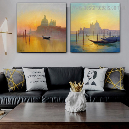 Basilica of Saint Abstract Cityscape Framed Painting Portrait Canvas Print for Room Wall Drape