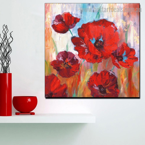 Poppy Blossoms Abstract Watercolor Framed Artwork Image Canvas Print for Room Wall Ornament