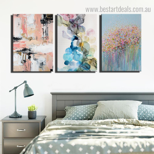 Flecks Abstract Modern Watercolor Framed Scheme Picture Canvas Print for Room Wall Flourish