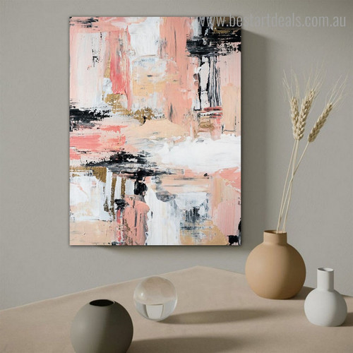 Pink Black Abstract Modern Framed Artwork Picture Canvas Print for Room Wall Garniture