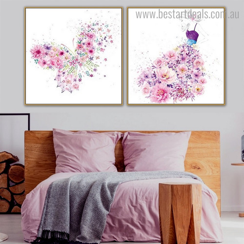 Floral Gown Abstract Watercolor Framed Smudge Photograph Canvas Print for Room Wall Flourish