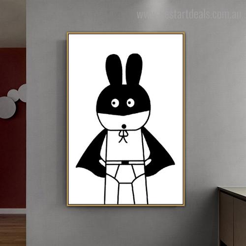 Superhero Rabbit Anime Animals Nordic Framed Effigy Portrait Canvas Print for Room Wall Decoration