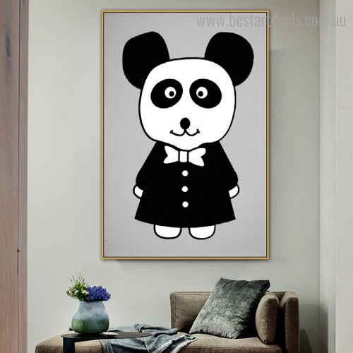 Mr. Panda Anime Animals Nordic Framed Painting Portrait Canvas Print for Room Wall Ornament
