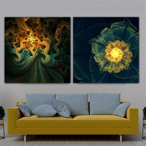 Glossy Blooms Abstract Floral Modern Framed Artwork Picture Canvas Print for Room Wall Finery