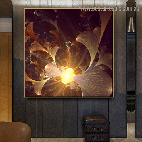 Bright Bloom Abstract Floral Modern Framed Artwork Portrait Canvas Print for Room Wall Decor