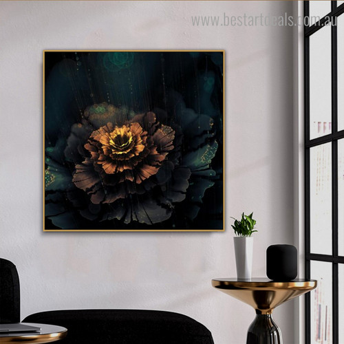 Shiny Blossom Abstract Floral Modern Framed Artwork Portrait Canvas Print for Room Wall Getup
