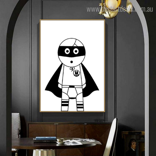 Monochrome Superhero Anime Abstract Nordic Framed Painting Portrait Canvas Print for Room Wall Decoration