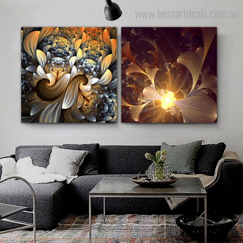 Shiny Blossoms Abstract Floral Modern Framed Artwork Portrait Canvas Print for Room Wall Decoration