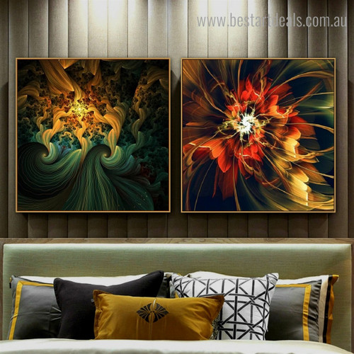 Glossy Florets Abstract Floral Modern Framed Smudge Portrait Canvas Print for Room Wall Assortment