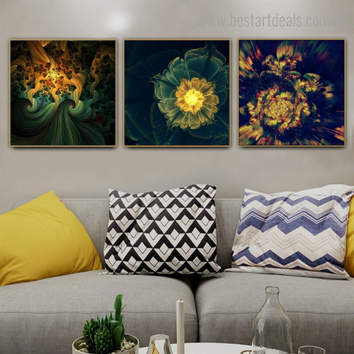 Lucid Florets Abstract Botanical Modern Framed Effigy Picture Canvas Print for Room Wall Outfit