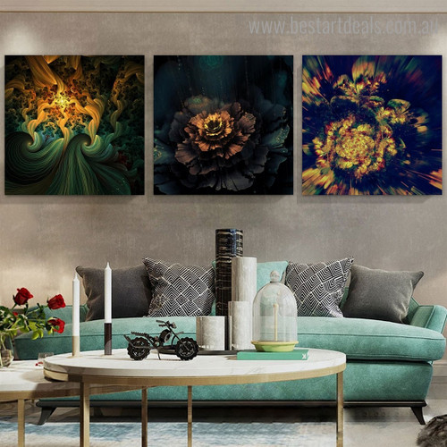 Bright Blooms Abstract Botanical Modern Framed Effigy Portrait Canvas Print for Room Wall Disposition