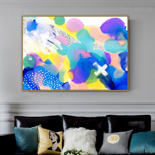 Blue White Abstract Watercolor Modern Framed Smudge Image Canvas Print for Room Wall Ornament