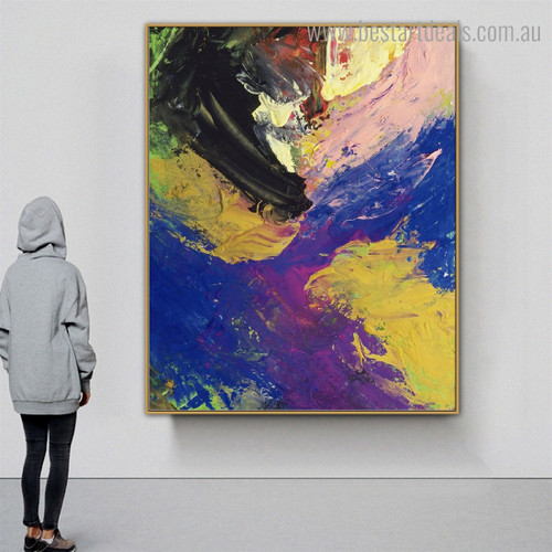 Pink Yellow Abstract Watercolor Modern Framed Smudge Picture Canvas Print for Room Wall Disposition