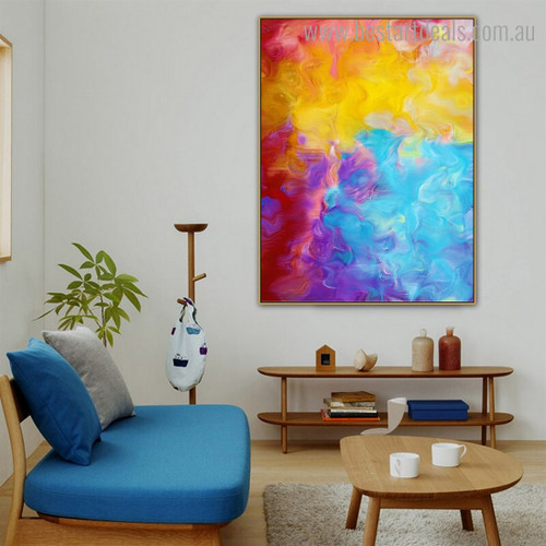 Yellow Blue Abstract Watercolor Modern Framed Smudge Portrait Canvas Print for Room Wall Outfit