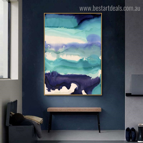 Cyan Blue Abstract Watercolor Modern Framed Painting Portrait Canvas Print for Room Wall Ornament