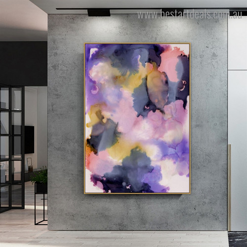 Purple Pink Abstract Watercolor Modern Framed Painting Pic Canvas Print for Room Wall Adornment