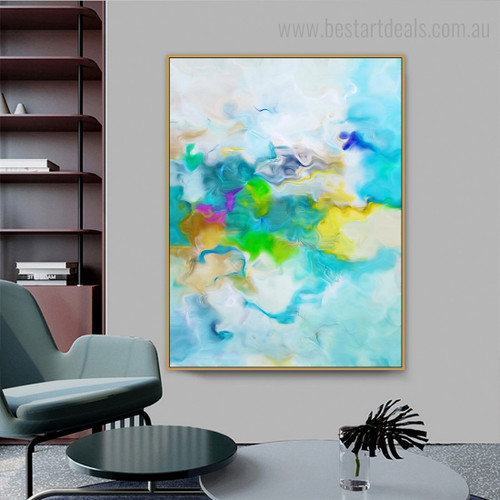 Green Yellow Abstract Watercolor Modern Framed Artwork Pic Canvas Print for Room Wall Flourish
