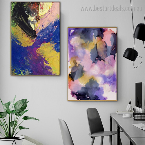 Yellow Purple Abstract Watercolor Modern Framed Artwork Portrait Canvas Print for Room Wall Disposition
