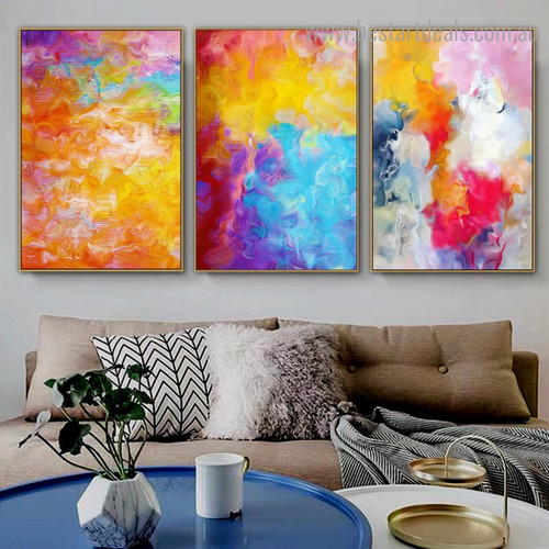 Yellow Blue Red Abstract Watercolor Modern Framed Artwork Portrait Canvas Print for Room Wall Decor
