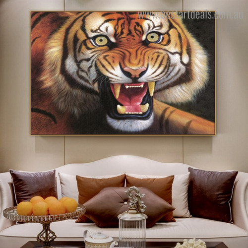 Hazardous Tiger Animal Modern Framed Painting Picture Canvas Print for Room Wall Decor