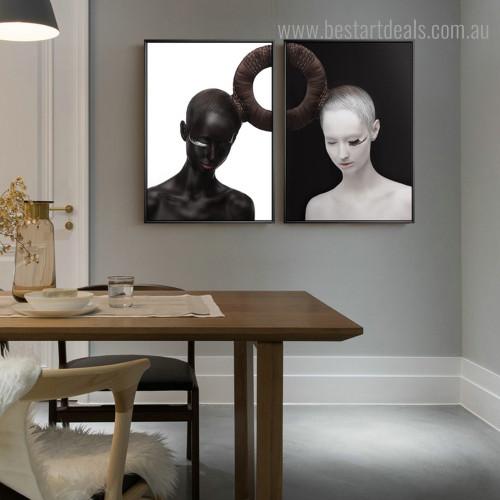 Circular Hair Style Figure Modern Framed Artwork Image Canvas Print for Room Wall Decor