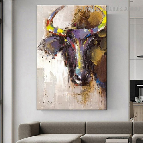 Buffalo Face Abstract Animal Modern Framed Painting Picture Canvas Print for Room Wall Decoration