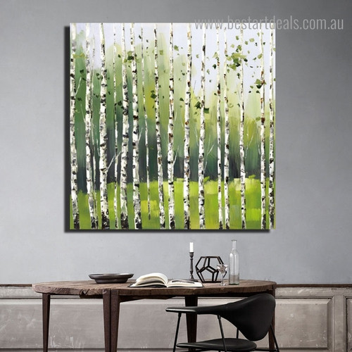 Birch Landscape Nature Framed Smudge Picture Canvas Print for Room Wall Drape